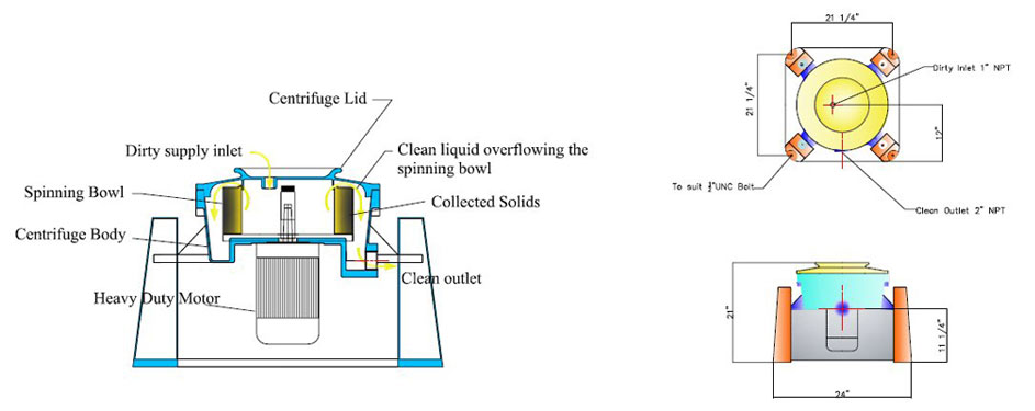 CFC-1000 Self Cleaning Centrifugal Oil Separator Schematics